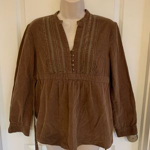 Cute Chocolate Corduroy Motherhood Maternity Top